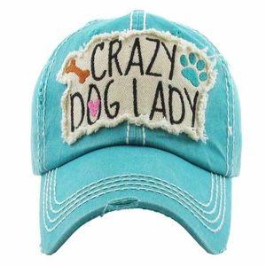 """Crazy Dog Lady"" Washed Vintage Style Ball Cap"